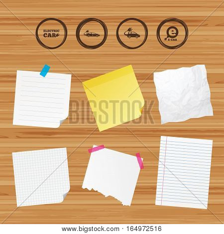 Business paper banners with notes. Electric car icons. Sedan and Hatchback transport symbols. Eco fuel vehicles signs. Sticky colorful tape. Vector