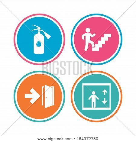 Emergency exit icons. Fire extinguisher sign. Elevator or lift symbol. Fire exit through the stairwell. Colored circle buttons. Vector