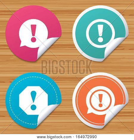 Round stickers or website banners. Attention icons. Exclamation speech bubble symbols. Caution signs. Circle badges with bended corner. Vector