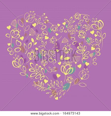 Yellow floral heart with drawing effect. Yellow flowers and plants. Purple background with watercolor blurs. Vintage greeting card