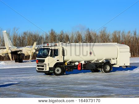 Military truck equipped with cistern for transporting and dispensing of petroleum products at a military airbase