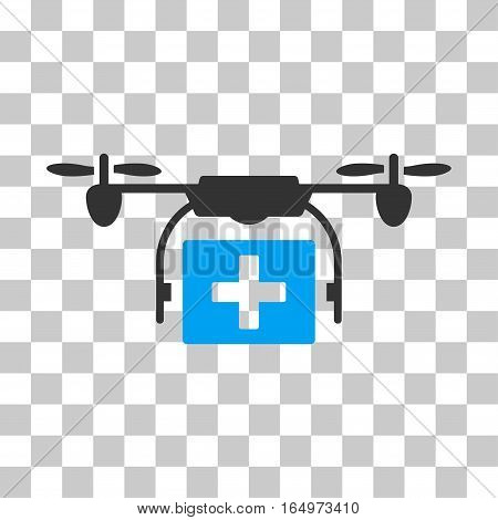 Ambulance Drone vector pictograph. Illustration style is flat iconic bicolor blue and gray symbol on a transparent background.