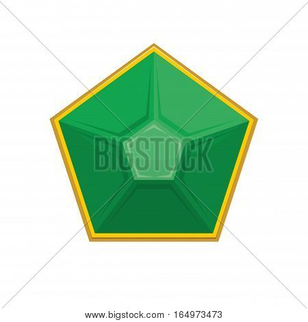 Emerald Gemstone Isolated. Jewelry Green Stone On White Background