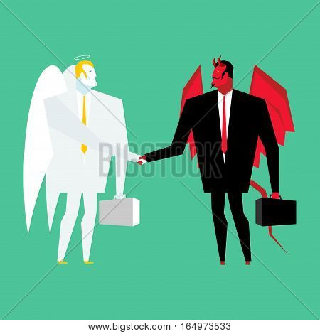 Devil And Angel Business Deal. Satan And God Handshake. Archangel And Demon Businessman