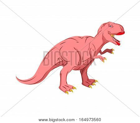 Dino Female. Pink Dinosaur Isolated. Ancient Predator Tyrannosaurus