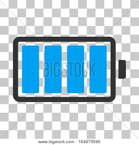 Battery vector pictograph. Illustration style is flat iconic bicolor blue and gray symbol on a transparent background.