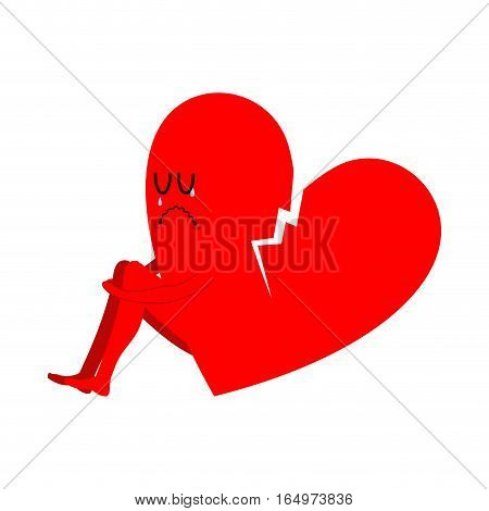 Broken Heart Symbol Of Unrequited Love. Sad Sign Of Betrayal And Treason