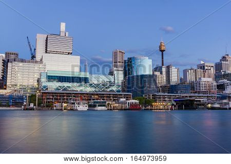 Darling Harbour Cityscape At Dusk