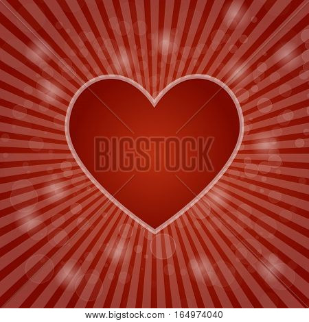 Red heart on abstract bokeh background, stock vector