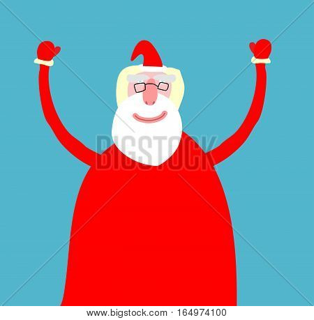 Santa Claus Isolated. Merry Christmas Grandfather. Xmas And New Year Illustration
