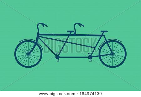 Tandem Bicycle Isolated. Vintage Bike On Green Background