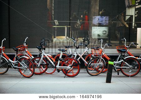 Beijing,china 6 January 2017: Mobike Bicycles In Beijing, China. Mobike Is A Popular Bike Sharing Pl
