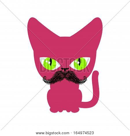 Cat Hipster With Mustache Isolated. Pet On White Background