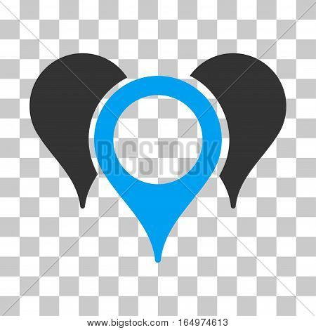 Map Pointers vector icon. Illustration style is flat iconic bicolor blue and gray symbol on a transparent background.