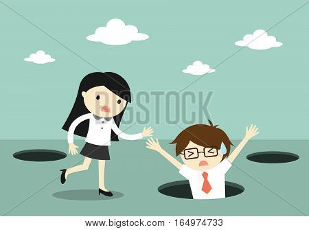Business concept, Businessman fall into the hole but business woman trying to help him.