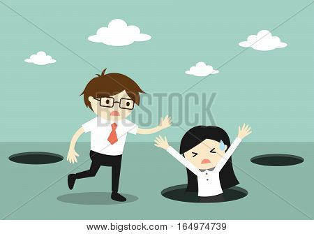 Business concept, Business woman fall into the hole but businessman trying to help her. Vector illustration.