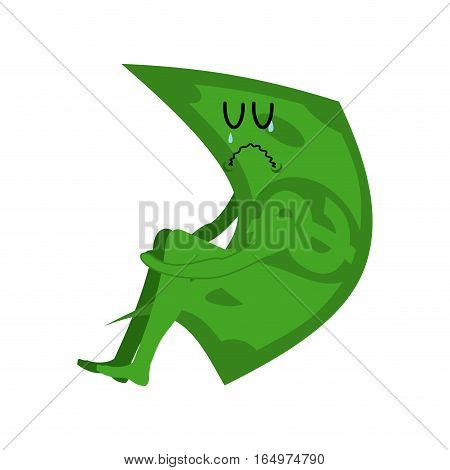 Sad Money. Sorrowful Cash. Crying Dollar. Sadness Finance