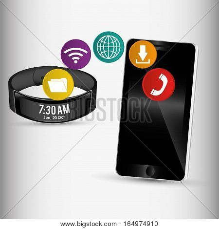 smartphone and smart wristband sharing application vector illustration eps 10