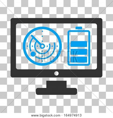 Radar Battery Control Monitor vector icon. Illustration style is flat iconic bicolor blue and gray symbol on a transparent background.