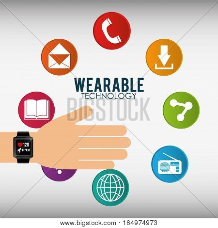 hand with smart watch wearable technology icon vector illustration eps 10