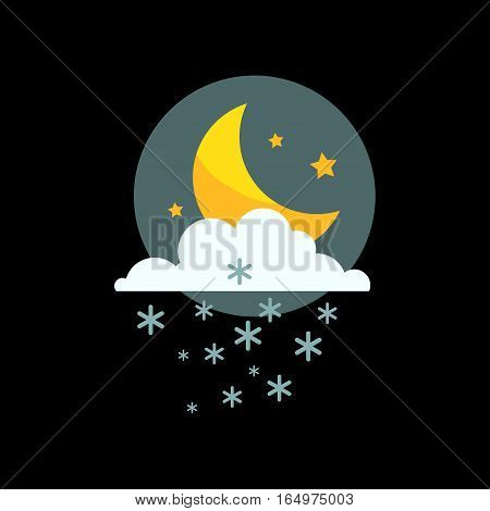 Weather icon vector illustration. Season thermometer design thunder temperature sign. Meteorology sky snowflake night nature element for web application.