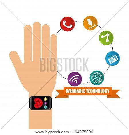 wearable technology hand watch health app vector illustration eps 10