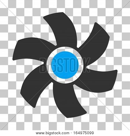 Rotor vector pictograph. Illustration style is flat iconic bicolor blue and gray symbol on a transparent background.