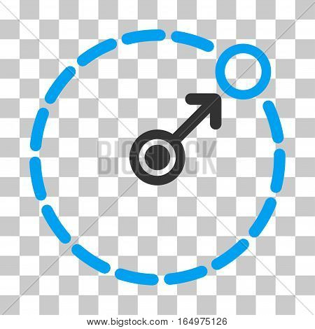 Round Area Border vector pictogram. Illustration style is flat iconic bicolor blue and gray symbol on a transparent background.
