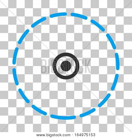 Round Area vector pictograph. Illustration style is flat iconic bicolor blue and gray symbol on a transparent background.