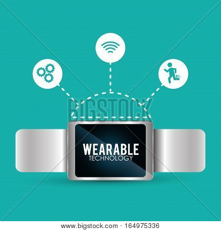 smart watch wearable technology trendy connection vector illustration eps 10
