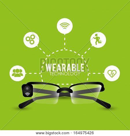 smart glasses wearable technology cyber vector illustration eps 10