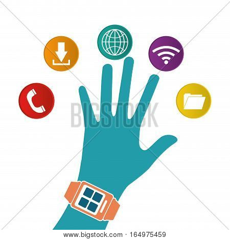 hand wearing smart watch wearable technology white background vector illustration eps 10