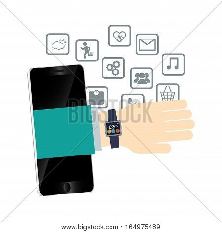 hand watch smartphone wearable technology mobile media vector illustration eps 10