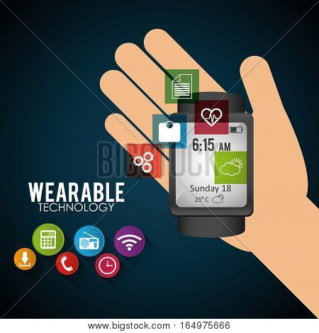 hand hold smart watch wearable technology new electronic trendy vector illustration eps 10