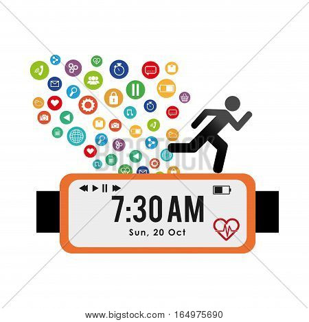 tracker fitness wearable technology healthy application vector illustration eps 10