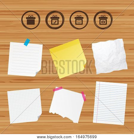 Business paper banners with notes. Gift box sign icons. Present with bow symbols. Photo camera sign. Woman shoes. Sticky colorful tape. Vector