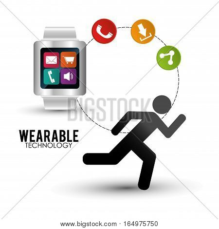 smart watch wearable technology portable accessory vector illustration eps 10