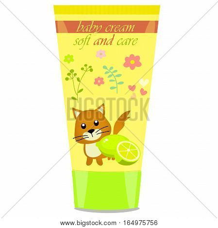 High quality original trendy vector Baby cream tube with kids design and cat illustration