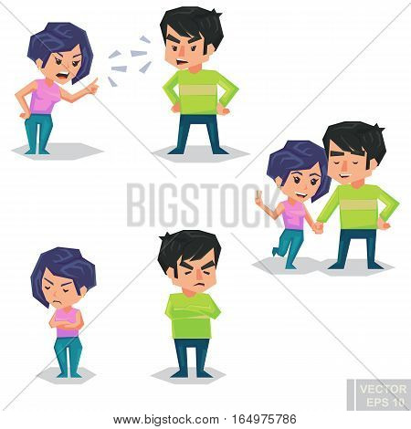 Couple Man And Woman Characters Quarrel Turning Their Back To Each Other, Concept In Conflict, Angry