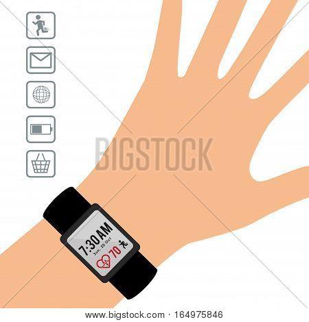 hand wearing smart watch wearable technology display app vector illustration eps 10