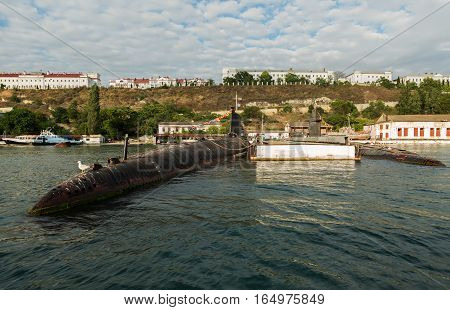Sevastopol, Russia - June 09, 2016: Submarine in floating dock of South Bay