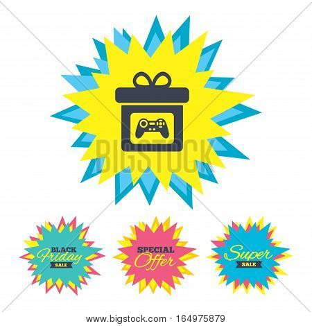 Sale stickers and banners. Gift box sign icon. Present with video game joystick symbol. Star labels. Vector