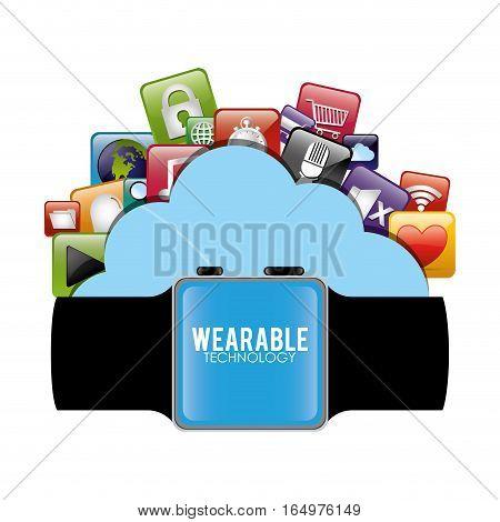 smart watch wearable technology cloud virtual vector illustration eps 10