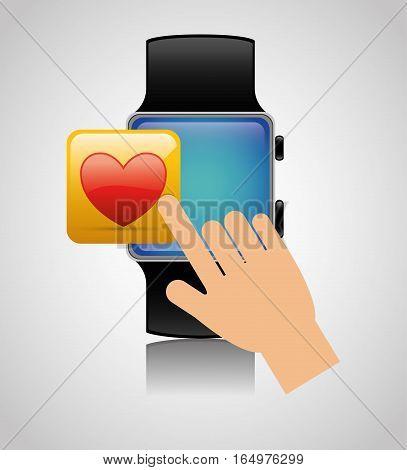 smart watch wearable technology heart app vector illustration eps 10