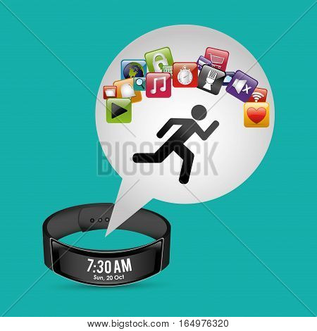 smart wristband tracker fitness green background vector illustration eps 10
