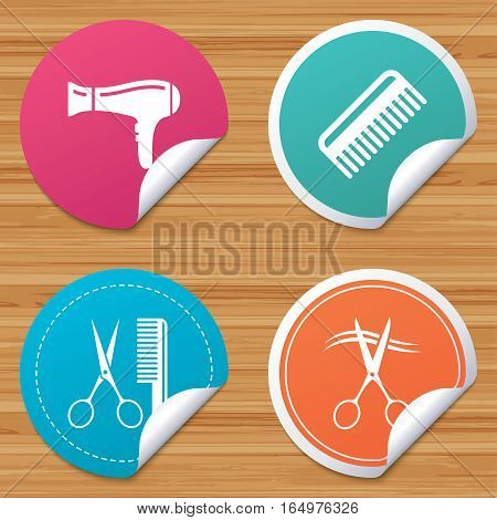 Round stickers or website banners. Hairdresser icons. Scissors cut hair symbol. Comb hair with hairdryer sign. Circle badges with bended corner. Vector