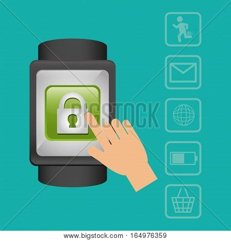 smart watch wearable technology security media green background vector illustration eps 10