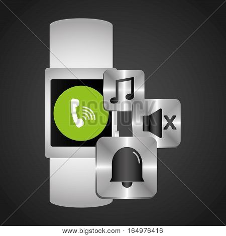 smart watch wearable technology music sound bell vector illustration eps 10
