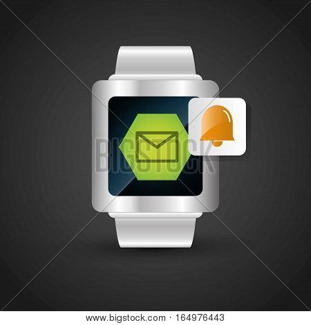 smart watch wearable technology email bell alarm vector illustration eps 10