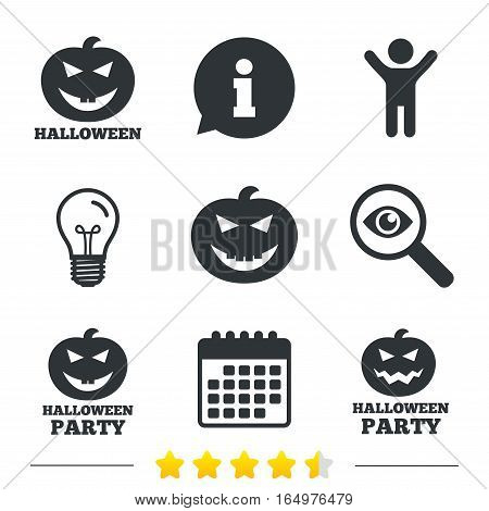 Halloween pumpkin icons. Halloween party sign symbol. All Hallows Day celebration. Information, light bulb and calendar icons. Investigate magnifier. Vector